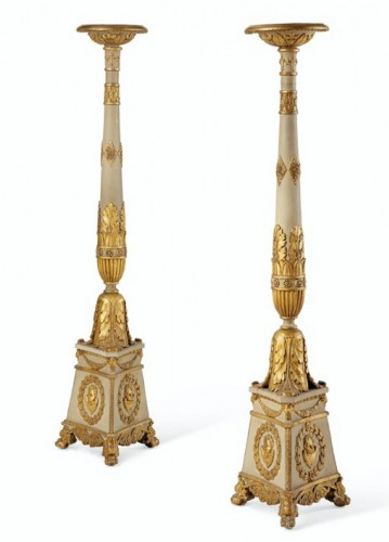 Pair of Italian, Neoclassical period Torcheres