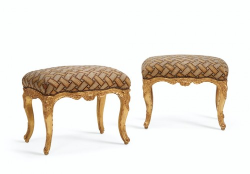 Pair of Northern European, Louis XV period, tabourets