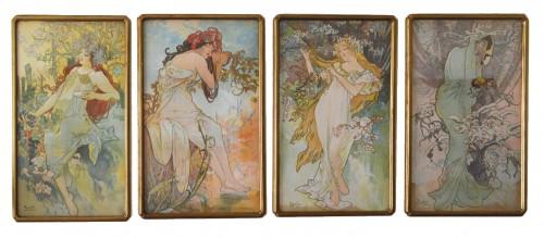 Set of four Art Nouveau period lithographs on fabric - Alphonse Mucha