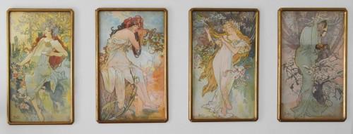 Set of four Art Nouveau period lithographs on fabric - Alphonse Mucha - Engravings & Prints Style Art nouveau
