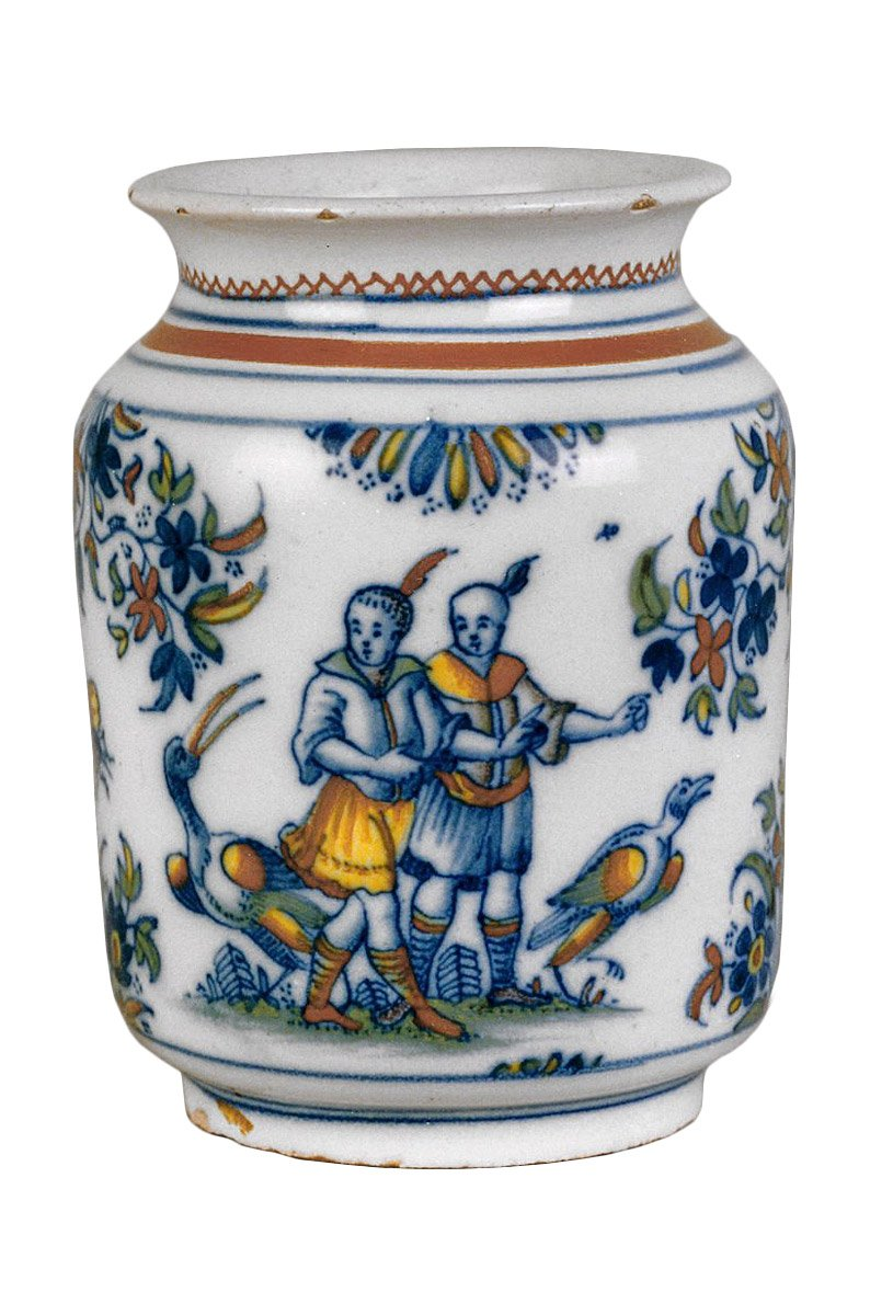 A fa ence jar with chinoiseries decoration alcora 1735 60 for Decoration faience