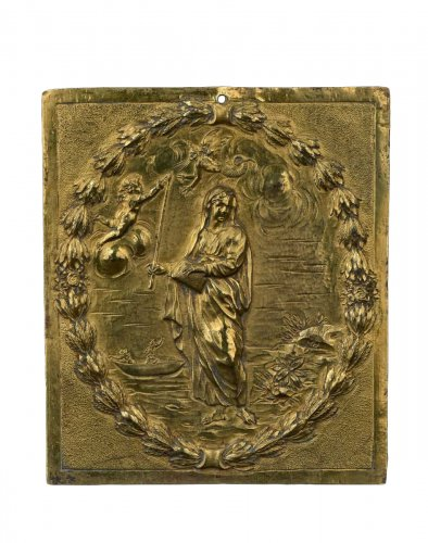 A gilt bronze plaquette representing Saint Genevieve, XVIIIth century