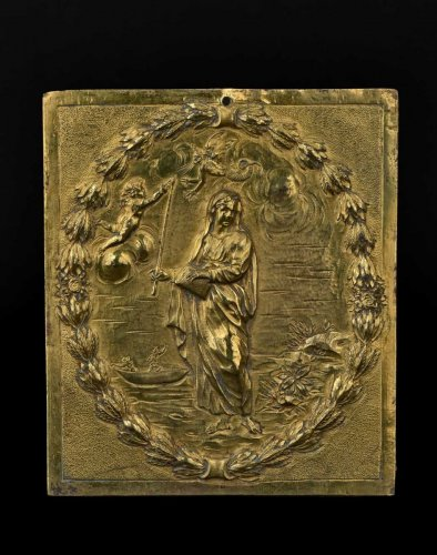 Religious Antiques  - A gilt bronze plaquette representing Saint Genevieve, XVIIIth century