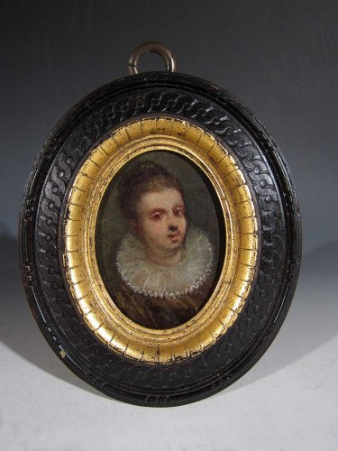Miniature portrait of a young woman, oil on wood, XVIIth century