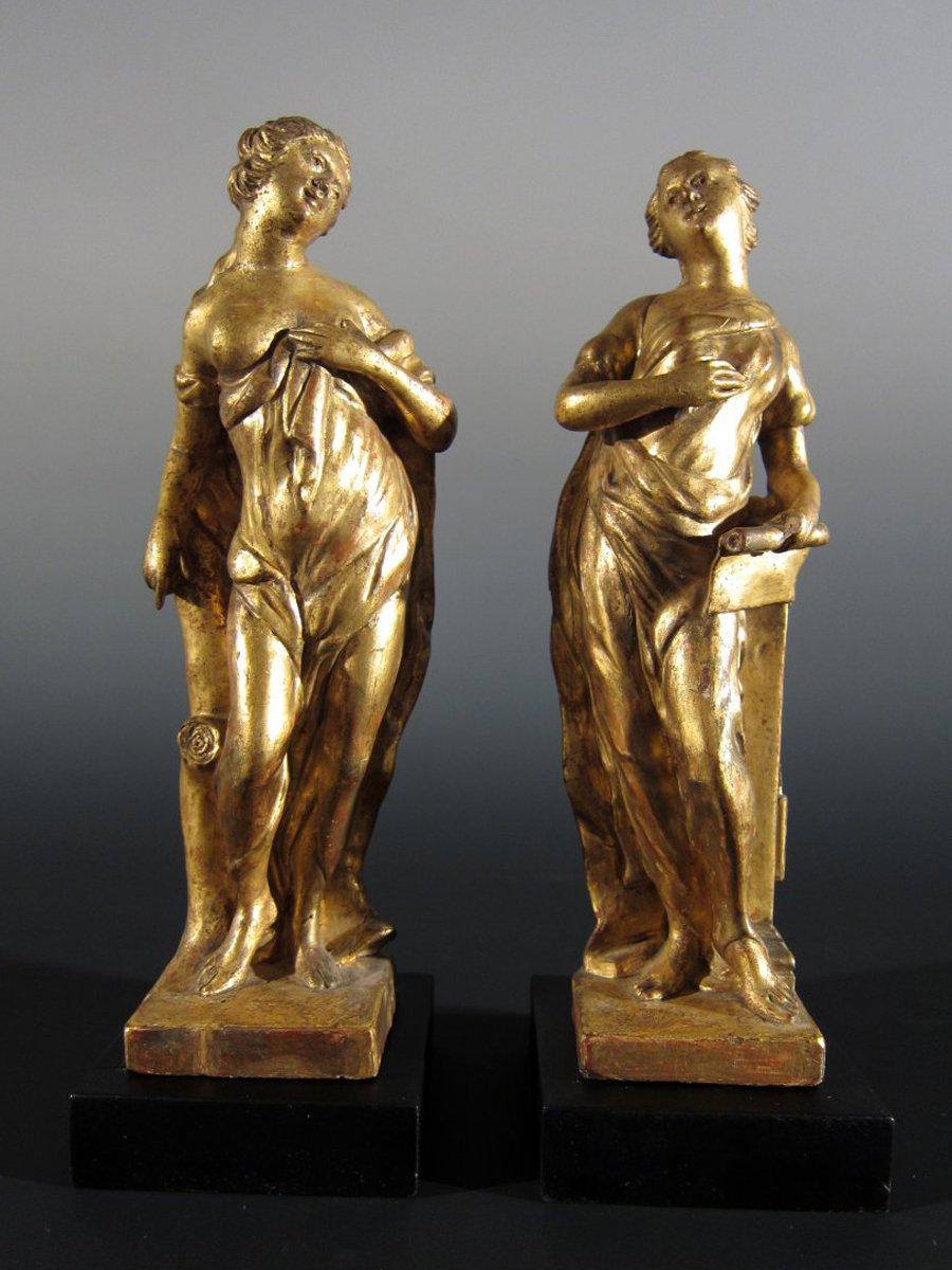 A Pair Of Gilt Wood Allegorical Figures Xviiith Century
