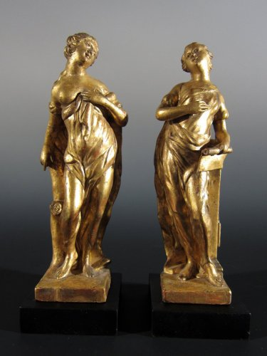 A pair of gilt wood allegorical figures, XVIIIth century