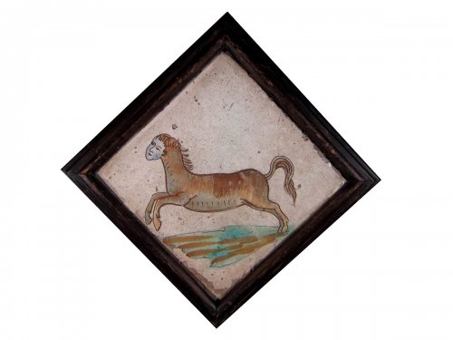 Very rare Spanish tile of a human-headed horse, Manises, XVIIIth century