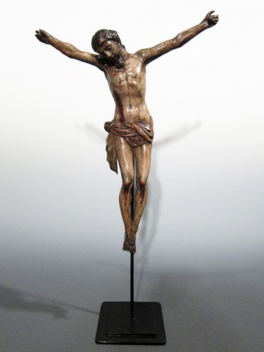 A Baroque polychrome wood 'Cristo Morto', late XVIIth century