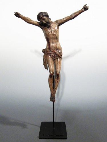 A Baroque polychrome wood 'Cristo Morto', late XVIIth century