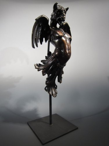 Impressive bronze figure of an eagle with a female torso, XIXth century