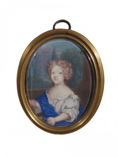 Miniature portrait of a young girl, France, XVIIth century