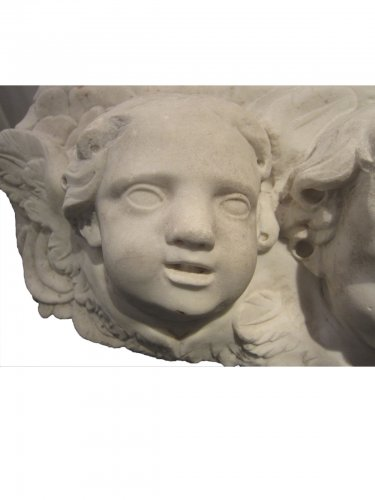 Pair of  Baroque winged angel heads, XVIIth century - Sculpture Style