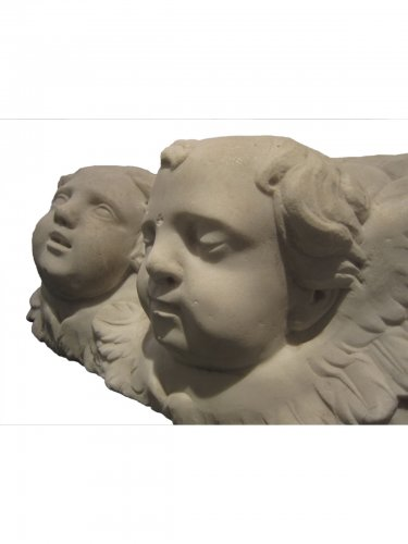 Sculpture  - Pair of  Baroque winged angel heads, XVIIth century