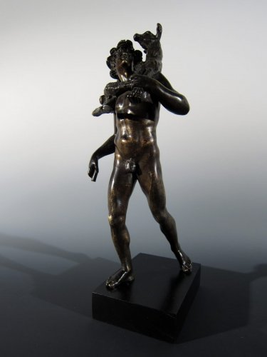 Antiquités - Faun with goat, France or Italy, circa 1800, after the Antique