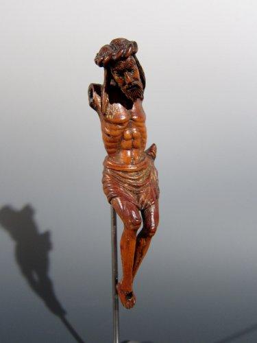 Miniature Gothic Christ, XIVth century - Sculpture Style Middle age