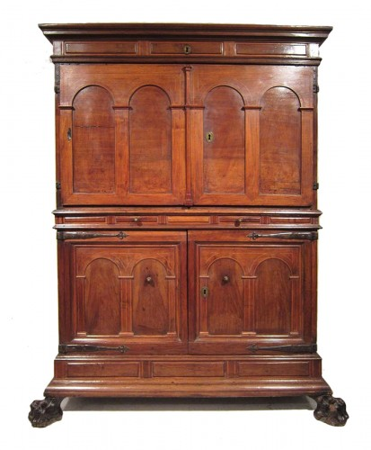Spanish Baroque architectural cabinet on stand, 17th century