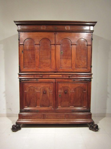 17th century - Spanish Baroque architectural cabinet on stand, 17th century