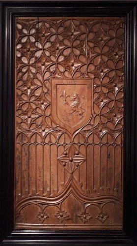 Carved wood heraldic panel, 1470-1500