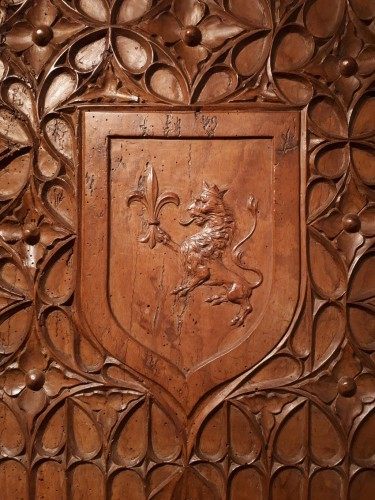 Carved wood heraldic panel, 1470-1500 - Architectural & Garden Style Middle age