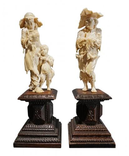 Pair of ivory sculptures, German School, XVIIIth century