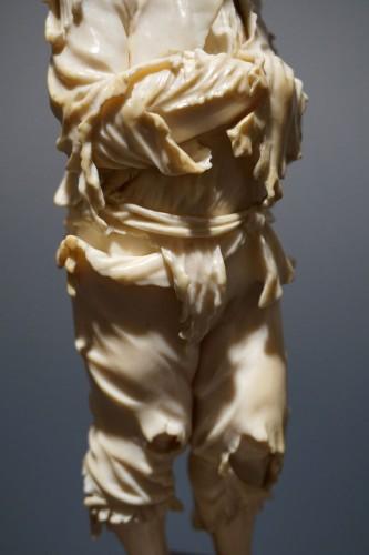 Pair of ivory sculptures, German School, XVIIIth century - Sculpture Style