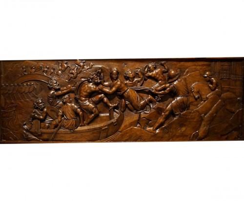 Renaissance wooden panel with mythological scene, XVIth century