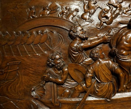 Renaissance wooden panel with mythological scene, XVIth century - Sculpture Style Renaissance