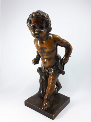 Boy playing with a ball, French school, XIXth century - Sculpture Style