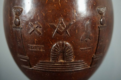 Masonic coconut cup, XIXth century -