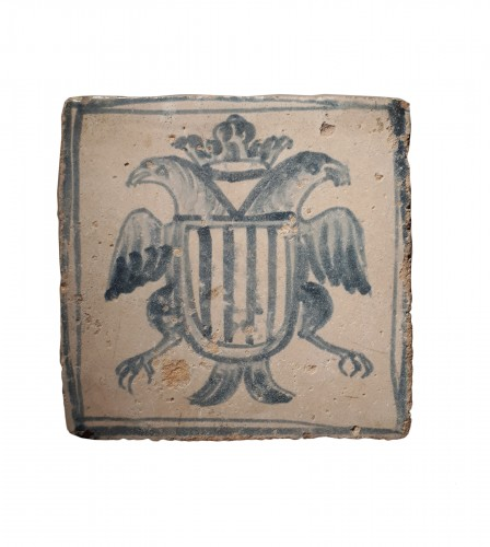 Heraldic tile with the coat of arms of the Kingdom of Aragon, XVIIth cent.