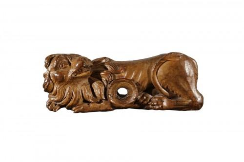 Barrel lock in sculpted wood, France, XVIIIth century