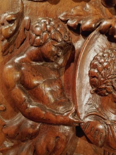 Architectural & Garden  - Renaissance panel with a Roman Emperor medallion, 1520-30