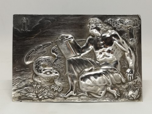 Set of four silver plaquettes with the Evangelists, XVIIth century - Antique Silver Style