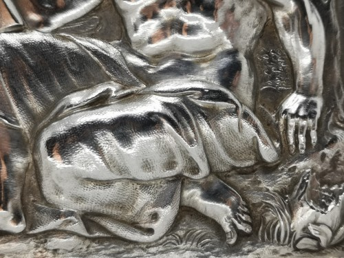 Antiquités - Set of four silver plaquettes with the Evangelists, XVIIth century