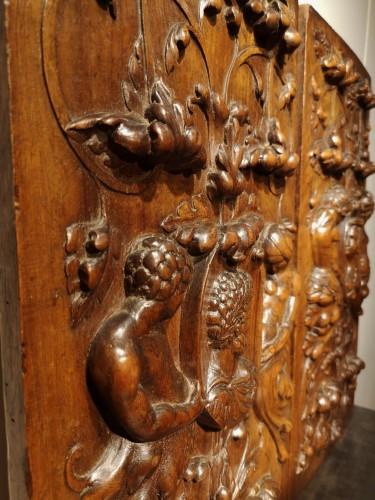 - A pair of Renaissance walnut panel, early XVIth century