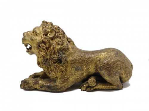 Renaissance gilt bronze lion, Augsburg 16th century