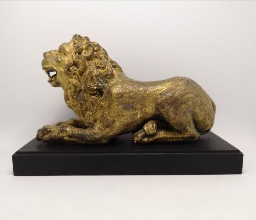 Renaissance gilt bronze lion, Augsburg 16th century - Sculpture Style Renaissance