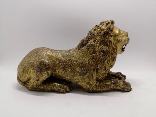 Sculpture  - Renaissance gilt bronze lion, Augsburg 16th century