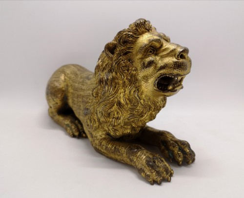 Renaissance gilt bronze lion, Augsburg 16th century -