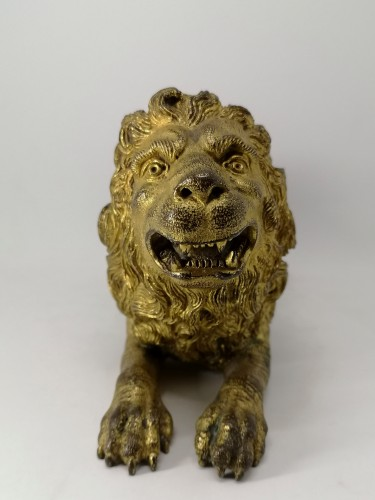 Antiquités - Renaissance gilt bronze lion, Augsburg 16th century