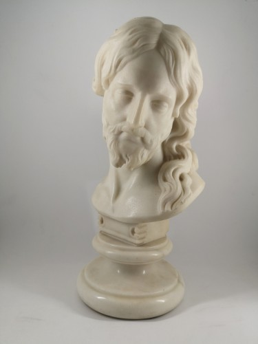 Bust of Christ in white marble, Italian School 18th century - Sculpture Style
