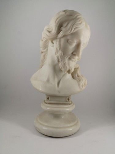 Bust of Christ in white marble, Italian School 18th century -