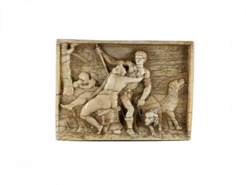 Venus and Adonis, ivory plaque after Titian, 17th century