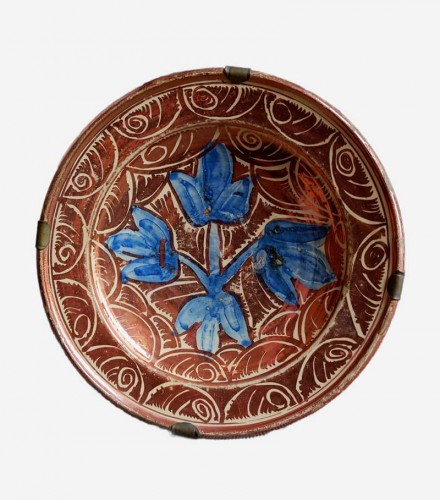 Hispano-moresque plate with lustre decoration, Manises, 17th century - Porcelain & Faience Style