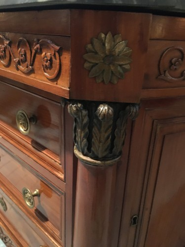 19th century - Empire chest of drawers in cherry wood with side door