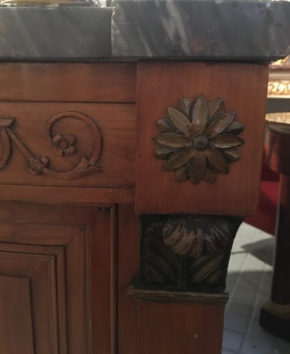 Antiquités - Empire chest of drawers in cherry wood with side door
