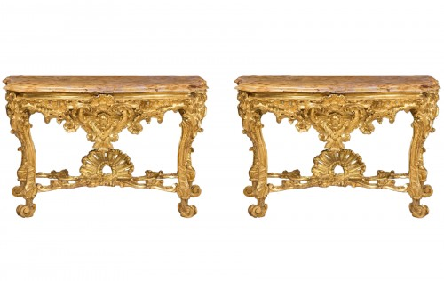 Pair of carved and gilded wood consoles, Italy 18th century