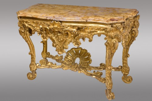 Furniture  - Pair of carved and gilded wood consoles, Italy 18th century