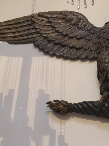 Carved and stuccoed wood eagle from the early 19th century - Sculpture Style Empire