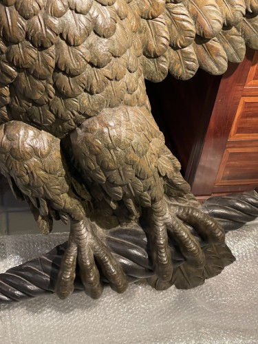 19th century - Carved and stuccoed wood eagle from the early 19th century